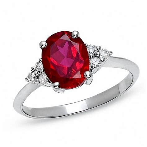 Oval Lab-Created Ruby Engagement Ring with Diamond Accents