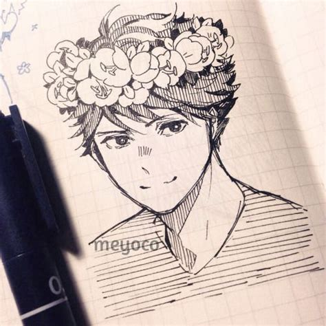 Doodled Oikawa with my usual flower crown aesthetic