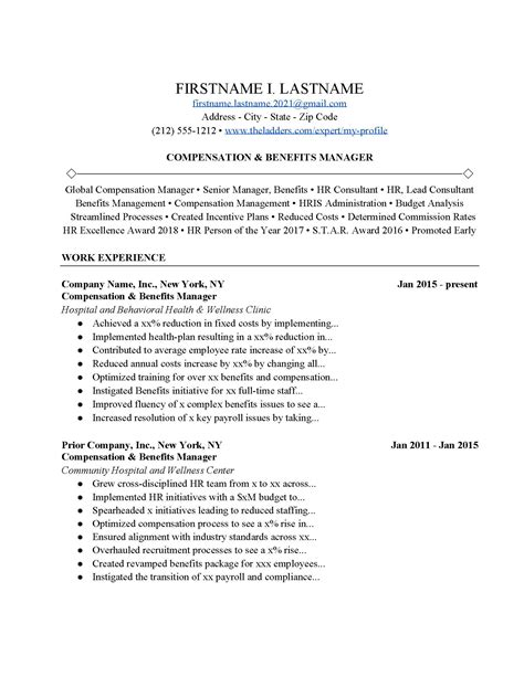 Compensation and Benefits Manager Resume Example   Free