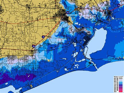 Beaumont Texas Flood prediction map - Cat 4   This map