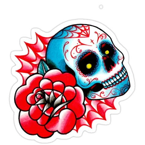"""""""Old School Sugar Skull and Rose Tattoo Flash"""" Stickers by"""