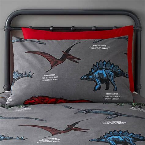 Dinosaur Friends Grey 100% Cotton Duvet Cover and
