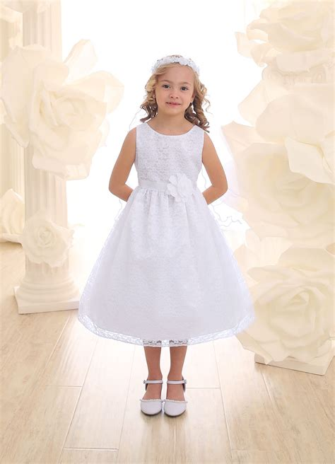 Lace First Communion Dress with Flower Accent   White Holy