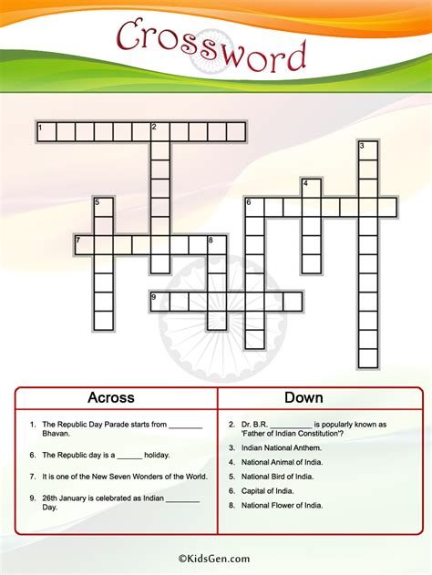 Indian Republic Day Colored Crossword template