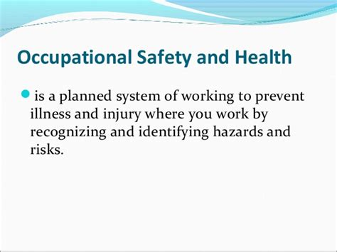 OHS and the Types of Hazards