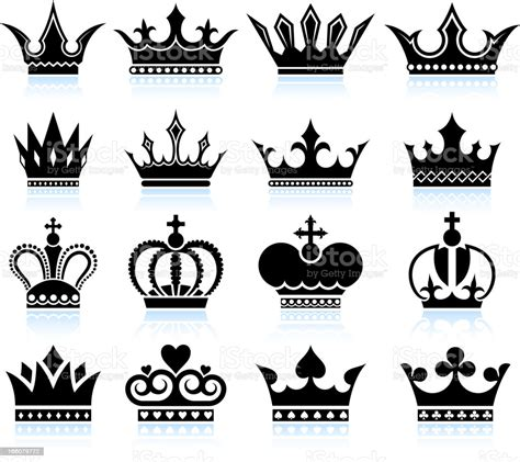 Crown Black And White Royalty Free Vector Icon Set Stock